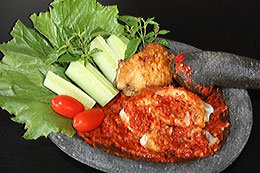 Bruised Chicken with Sambal Terasi