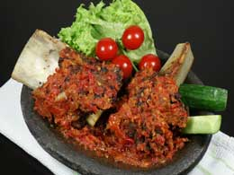 Fried Beef Spare Ribs with Chili Sambal | Iga Penyet