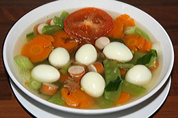 Quail-Egg & Vegetable Soup
