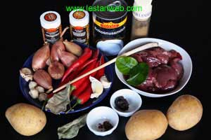 Kelia Hati Ayam Ingredients
